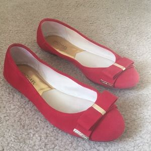 Michael Kors red suede ballet flats - barely worn